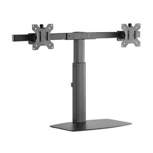 Buy Brateck-LDS-22T02-Brateck Dual Free Standing Screen Pneumatic Vertical Lift Monitor Stand Fit Most 17'-27' Monitors Up to 6kg per screen VESA 75x75/100x100