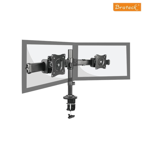 """Buy Brateck-LDT06-C02-Brateck Dual Monitor Arm with Desk Clamp VESA 75/100mm Fit Most 13""""-27"""" Monitors Up to 8kg per screen"""