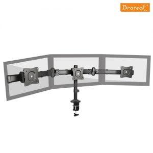"Buy Brateck-LDT06-C03-Brateck Triple Monitor Arm Mounts with Desk Clamp VESA 75/100mm Up to 27"" Monitors Up to 8kg per screen VESA 75x75/100x100"