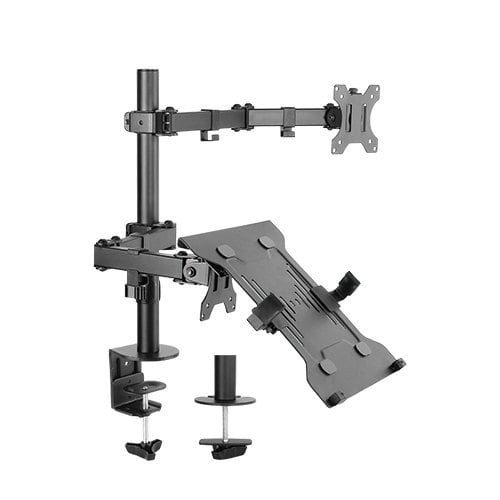 """Buy Brateck-LDT12-C1M2KN-Brateck Economical Double Joint Articulating Steel Monitor Arm with Laptop Holder Fit Most 13""""-32"""" Monitors"""