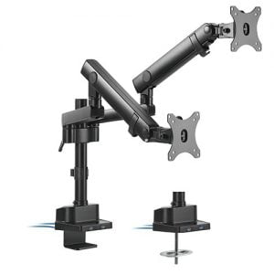 """Buy Brateck-LDT20-C024UP-Brateck Dual Monitor Aluminium Slim Pole-Mounted Spring-Assisted Monitor Arm With USB Fit Most 17""""-32"""" Monitors Up to 8kg per screen 75x75/100x100"""
