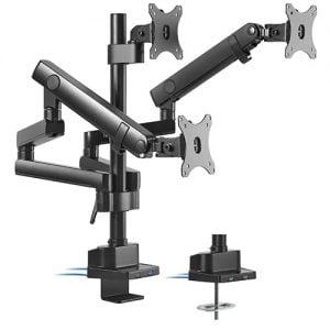 "Buy Brateck-LDT20-C036UP-Brateck Triple Monitor Aluminum Slim Pole Held Mechanical Spring Monitor Arm Fit Most 17""-27"" Monitors Up to 7kg per screen VESA 75x75/100x100"