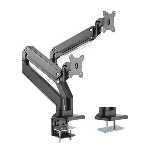 Buy Brateck-LDT23-C024-Brateck Dual Monitors Aluminum Heavy-Duty Gas Spring Monitor Arm Fit Most 17'-35' Monitors Up to 15kg per screen VESA 75x75/100x100