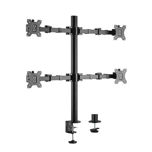 """Buy Brateck-LDT33-C048-Brateck Quad Monitors Affordable Steel Articulating Monitor Arm Fit Most 17""""-32"""" Monitors Up to 9kg per screen VESA 75x75/100x100"""