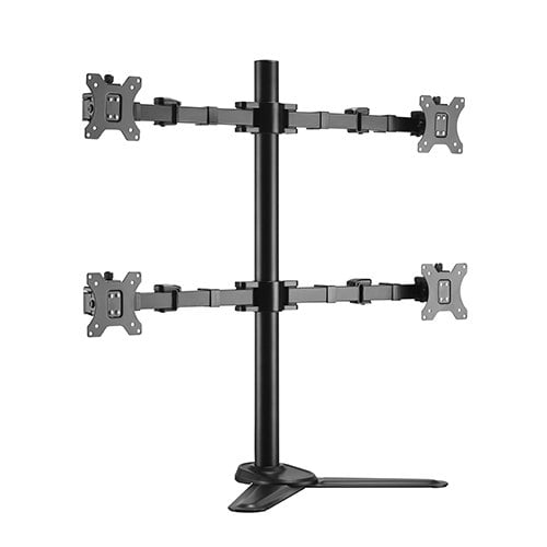 """Buy Brateck-LDT33-T048-Brateck Quad Free Standing Monitors Affordable Steel Articulating Monitor Stand Fit Most 17""""-32"""" Monitors Up to 9kg per screen VESA 75x75/100x100"""