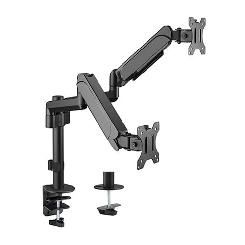 """Buy Brateck-LDT48-C024-Brateck Dual Monitors Pole-Mounted Gas Spring Monitor Arm Fit Most 17""""-32"""" Monitors Up to 9kg per screen VESA 75x75/100x100"""