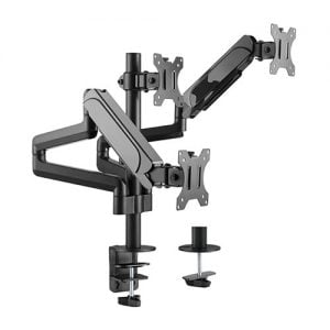 """Buy Brateck-LDT48-C036-Brateck Triple Monitors Pole-Mounted Gas Spring Monitor Arm Fit Most 17""""-27"""" Monitors Up to 7kg per screen VESA 75x75/100x100"""