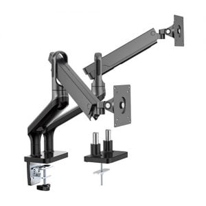 """Buy Brateck-LDT50-C024-B-Brateck Dual Monitor Premium Aluminium Spring-Assisted Monitor Arm Fit Most 17""""-32"""" Flat Panel and Curved Monitors Up to 9kg per screen (Black)"""
