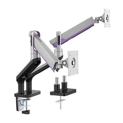 """Buy Brateck-LDT50-C024-S-Brateck Dual Monitor Premium Aluminium Spring-Assisted Monitor Arm Fit Most 17""""-32""""  Flat Panel and Curved Monitors Up to 9kg per screen (Sliver)"""