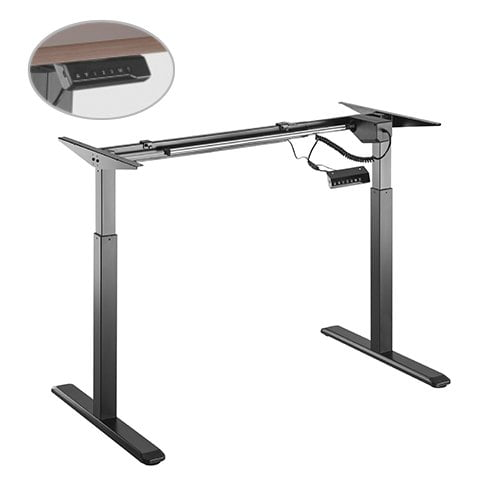 Buy Brateck-S03-22D-B-Brateck 2-Stage Single Motor Electric Sit-Stand Desk Frame with button Control Panel-Black Colour (FRAME ONLY); Requires TP18075 for the Board