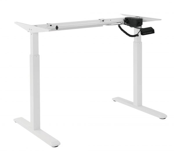 Buy Brateck-S03-22D-Brateck 2-Stage Single Motor Electric Sit-Stand Desk Frame with button Control Panel-White Colour (FRAME ONLY); Requires TP18075 for the Board