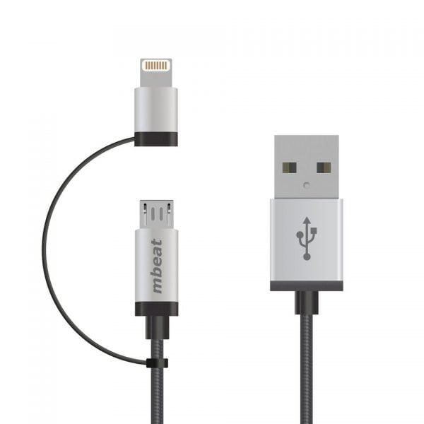 Buy MBEAT-ICAB21-1S-mbeat® 1m Lightning and Micro USB Data Cable - 2-in-1/Aluminmum Shell Crush-Proof/Nylon Braided/Silver/ Apple/Andriod Tablet Mobile Device (L)