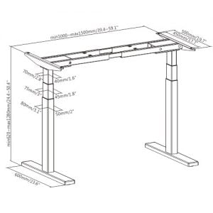 Buy Brateck-M09-23D-W-Brateck High performance 3-Stage Dual Motor Sit-Stand Desk 1000~1500x600x620~1280mm( WhiteFRAME ONLY); Requires TP15075 for the Board